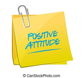 positive einstellung, memo, pfahl, zeichen, begriff
