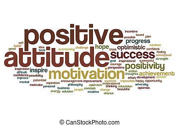 positive einstellung, wort, wolke