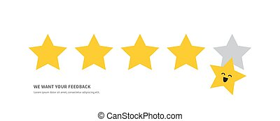 Positive feedback concept five star rating. Minimal flat vector illustration