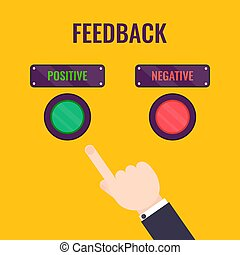 Male hand pointing to positive review button. Customer feedback design template. Rating evaluation vector symbol. Reviews and feedback concept.....
