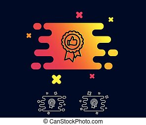 Positive feedback line icon. Award medal sign.