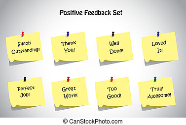 simple unique positive feedback text post it notes collection set. Thank you, loved it, well done, truly amazing, perfect job, great work, too good, simply outstanding positive feedback text concept