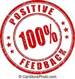 Positive feedback red grunge stamp