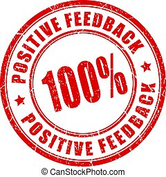 Positive feedback red vector stamp