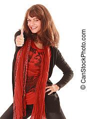 Positive Frau - Modische junge Frau mit positiven denken.