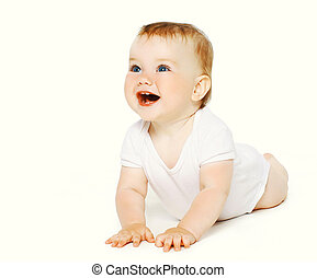 Positive funny baby on a white background