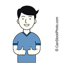 Positive funny guy showing thumbs up. Active lifestyle. Cartoon design icon. Flat vector illustration. Isolated on white background.
