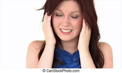 Positive girl having a headache