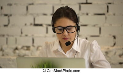 positive girl working in the call center