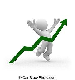 Positive graph - 3d human jump behind a green graphic arrow