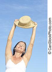 Positive happy attractive senior woman isolated