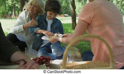 Positive happy family enjoying picnic in the park