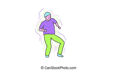 Positive happy man dances fun as a winner. Pop art ...