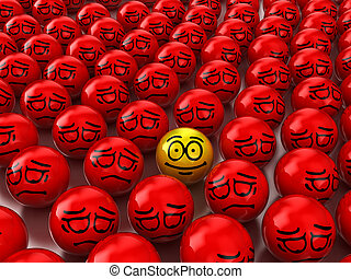 Positive - Illustration of a positive look in the middle of...