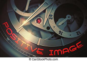 Positive Image on Men Wristwatch Mechanism. 3D.
