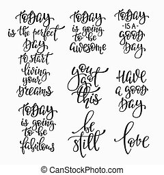 Positive life inspiration quotes lettering set - Positive...