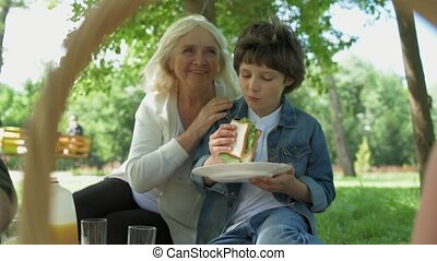 Positive little boy having a picnic with his family