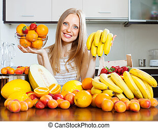 Positive long-haired woman with bananas