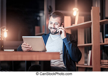 Positive man going to buy something