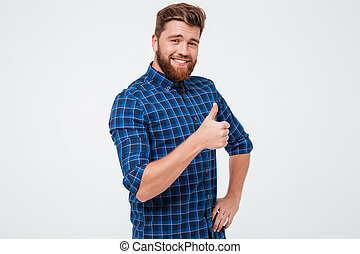 Positive man showing thumb up isolated