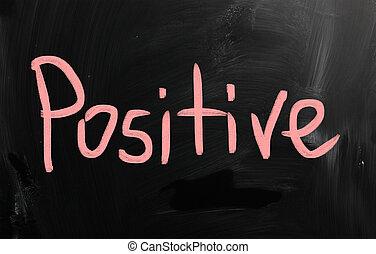 """""""positive"""", manuscrito, com, branca, giz, ligado, um, quadro-negro"""