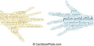 Positive Mental Attitude Brain word cloud on a white background.