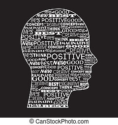positive mind over black background vector illustration