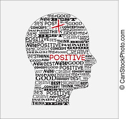 positive mind over white background vector illustration