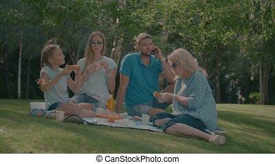 Positive multi generation family enjoying picnic