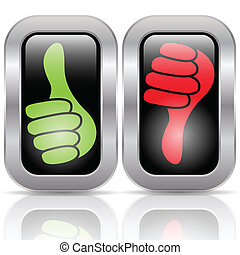 Illustration of positive and negative voting button.