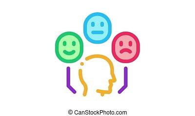 positive neutral negative human feedback Icon Animation. color positive neutral negative human feedback animated icon on white background