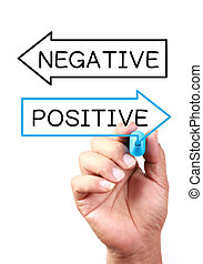Positive Or Negative drawing on transparent whiteboard.