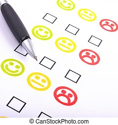positive or negative - hand pen and checkbox or tickbox with...