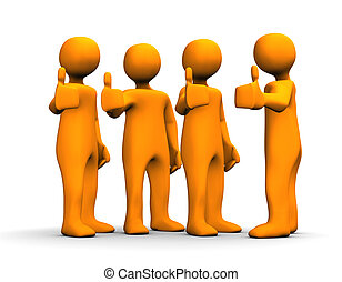 Positive - Orange cartoons with a positive symbol on the ...