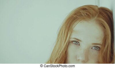 Positive red-haired girl - Positive redhead girl posing in...