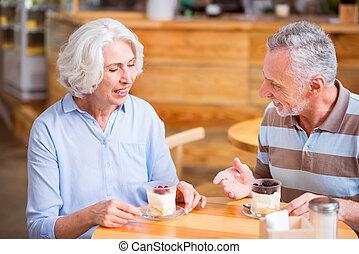 Positive senior couple having a meal