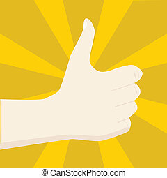 Positive sign - Illustration of a hand making a positive...