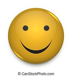 happy smiley face button badge vector