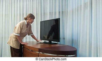 Positive smiling maid dusting TV set - Everything is clean....