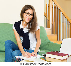 Positive student study at home