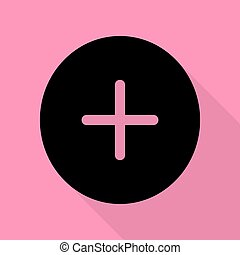 Positive symbol plus sign. Black icon with flat style shadow path on pink background.