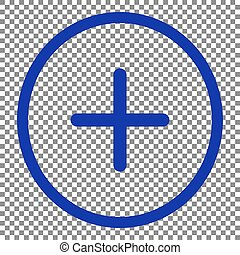 Positive symbol plus sign. Blue icon on transparent background.