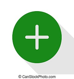 Positive symbol plus sign. Green icon with flat style shadow path.