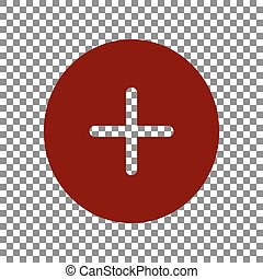 Positive symbol plus sign. Maroon icon on transparent background