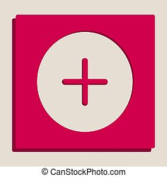 Positive symbol plus sign. Vector. Grayscale version of Popart-style icon.