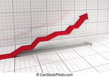 positive tendence - upwards leading arrow in stock market...