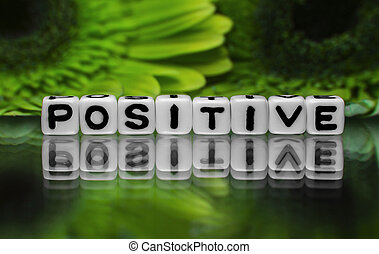 Positive text with green flowers