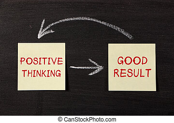 Positive Thinking and Good Result - sticky notes pasted on a blackboard background with chalk arrows.