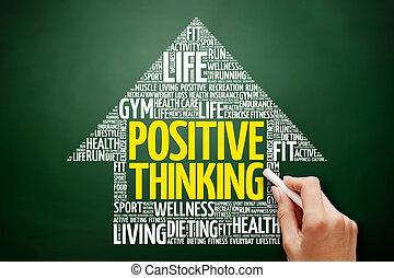 Positive thinking arrow word cloud