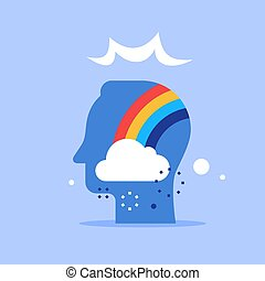 Positive thinking, cloud and rainbow in head, good attitude...